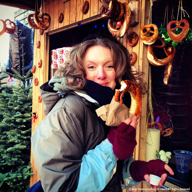 Munching on a German pretzel at the Vancouver Christmas Market