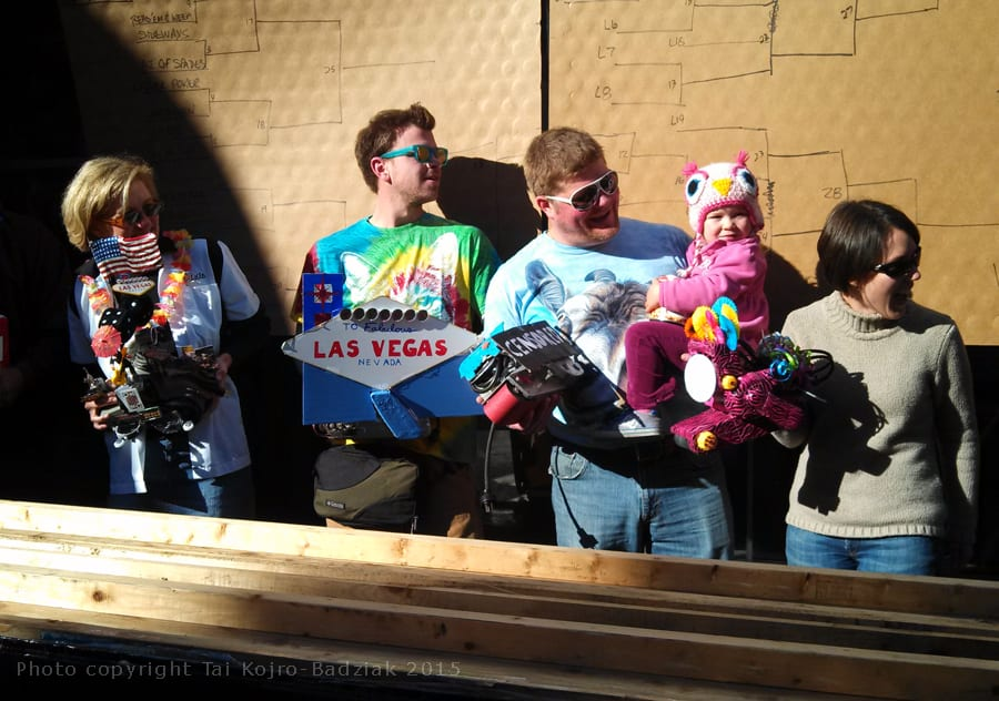The contestants line up with their decorated belt sanders. Viva Las Vegas!