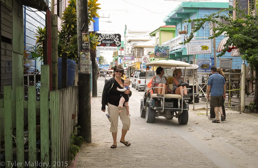A busy day on Center Street in San Pedro, Belize