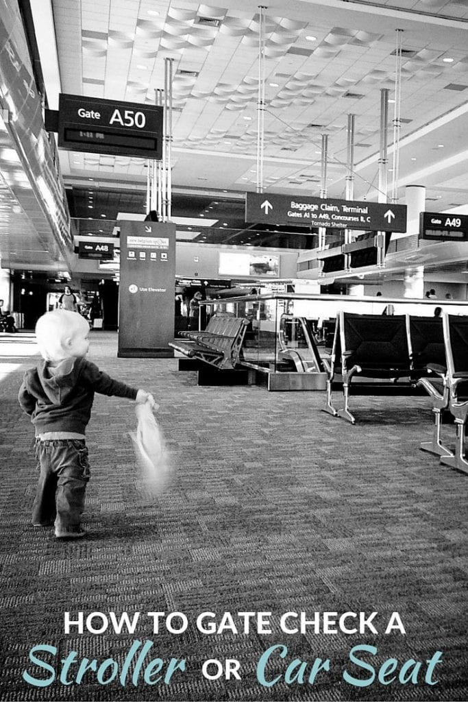 How to Gate Check A Stroller or Car Seat when you are traveling with kids. Take a family holiday this year and know what to do with your baby gear and travel gear. #familytravel #babytravel #toddler #traveltips #parentingtips #flying #carseats #stroller