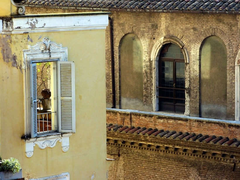 Scenes through a window in Rome Italy