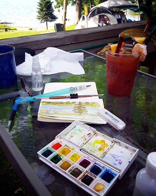 painting watercolors while traveling