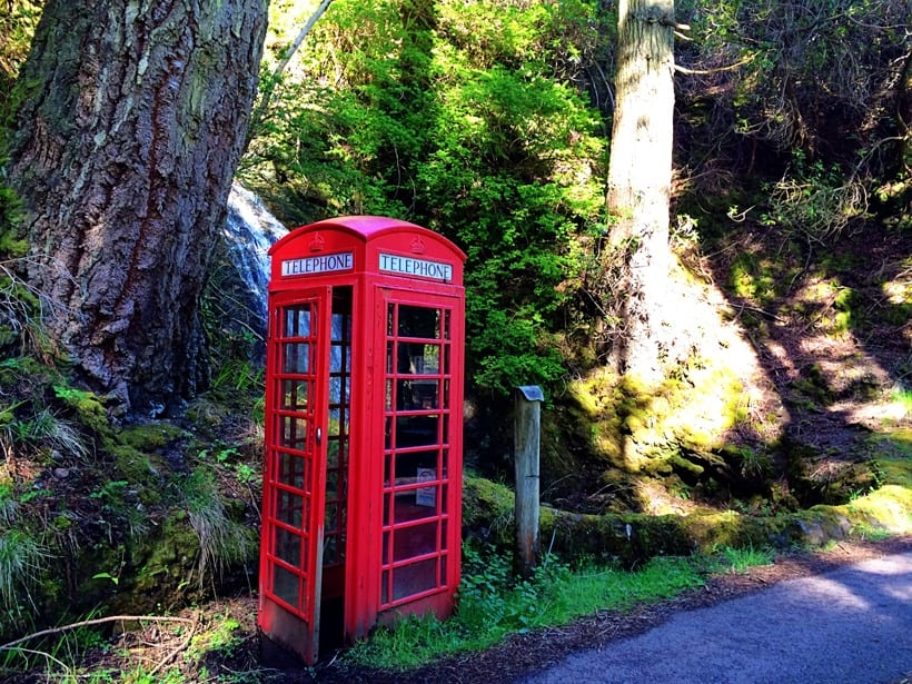 Red Phone Booth by Waterfall- Scotland with Kids Itinerary