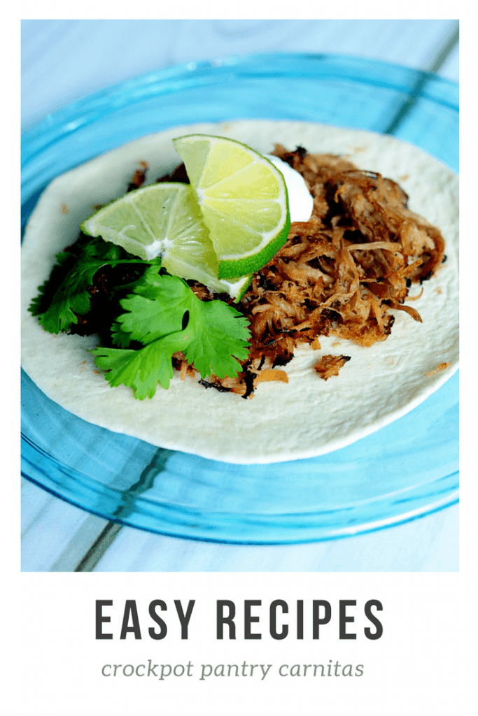 Pork Carnitas Recipe- Grab this easy slow cooker pork carnitas recipe that uses everyday ingredients from your pantry and fridge