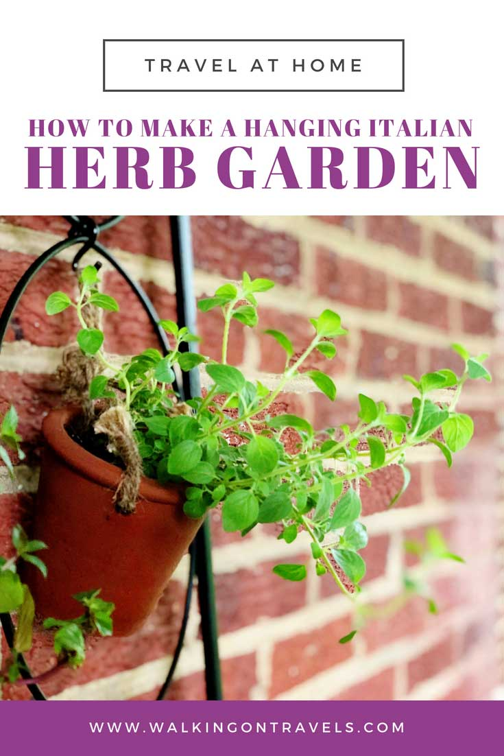 How to make an organic DIY hanging herb garden that can go indoors and outdoors for year-round herbs that bring global flavors into your kitchen and spice up your recipes at home. #DIY #gardening #herbs
