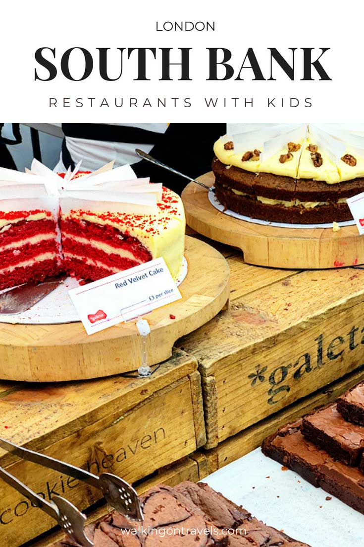 London's South Bank Restaurants are worth a stop when you are hungry in London with kids. European chains surround the area, but a food market off the Thames River is the saving grace of this part of London's food scene. #southbank #london #travelwithkids #londonwithkids