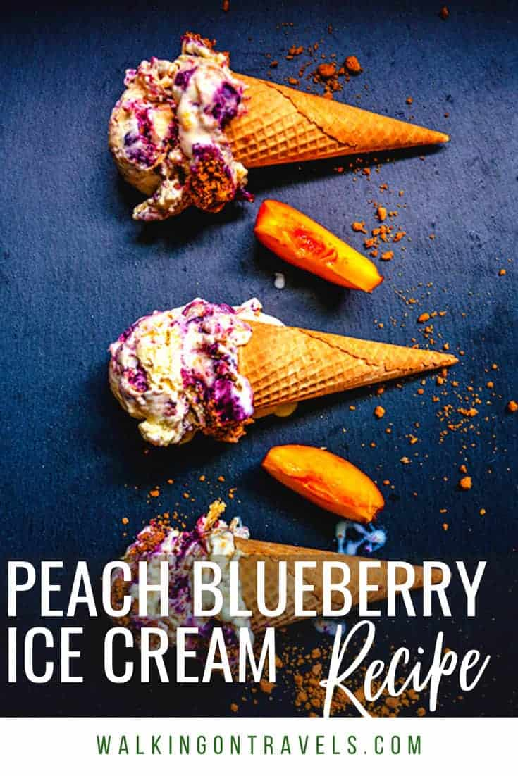 Homemade Peach Ice Cream with A Blueberry Swirl Recipe